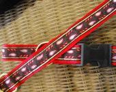 "Handmade Dog Collar with Woven Jacquard Ribbon 21"" Long"