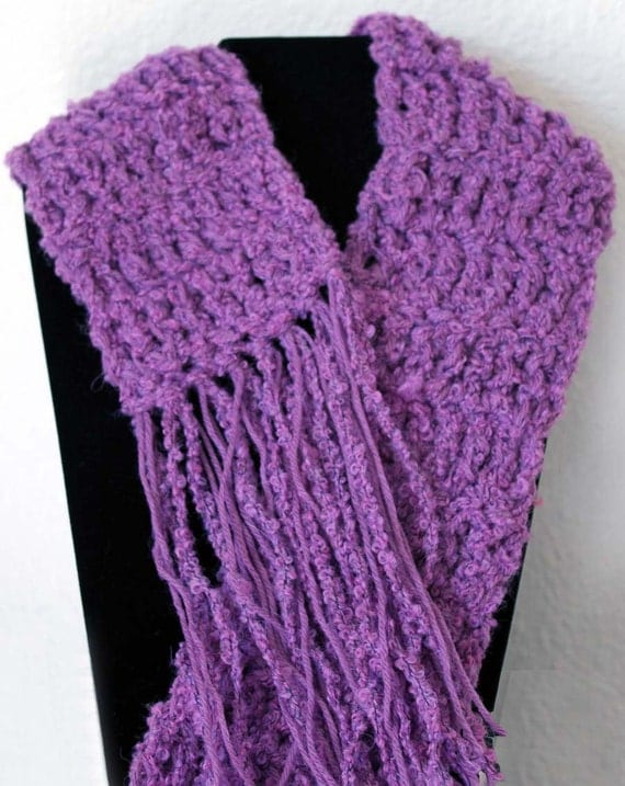 SALE 24.99 (20% OFF) Warm and Chunky Wool/Nylon/Acrylic Blend Ladies Hand-Crocheted Scarf
