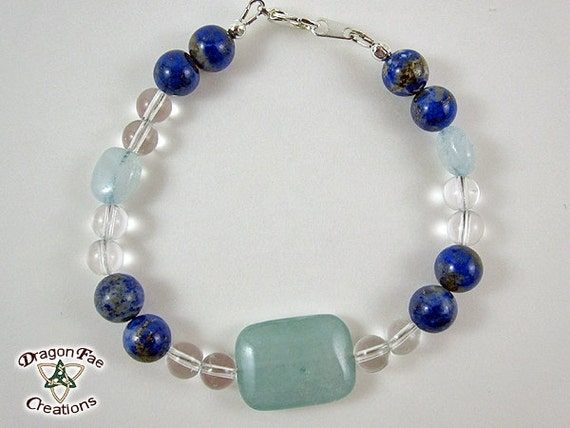 Enhance Communication and Self-Expression - Aquamarine, Lapis Lazuli and Clear Quartz Crystal Healing Bracelet