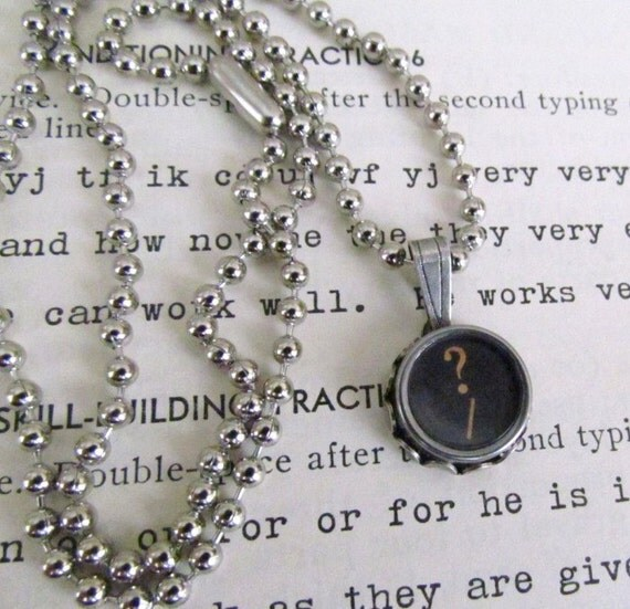 Vintage Typewriter Key Necklace with Question Mark
