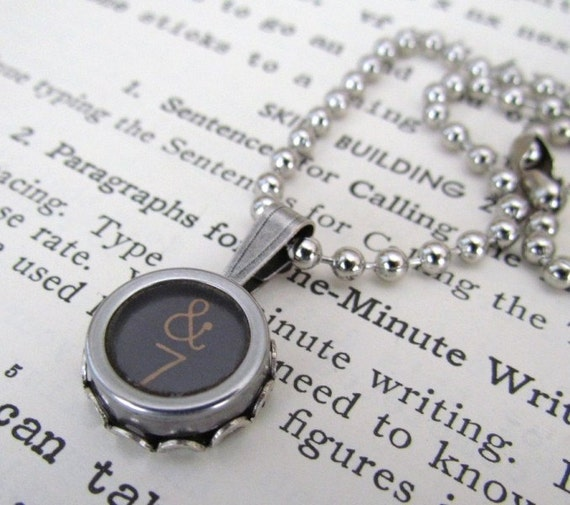 Typewriter Key Necklace with Lucky Number 7  and Ampersand