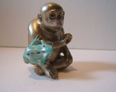 netsuke, hand carved, hand painted,MONKEY and FROG.. ..