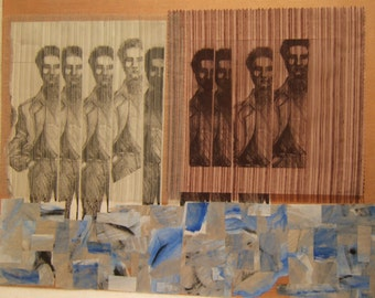 multi media collage,  yin and the yangtze      boys will be boys number 7 /