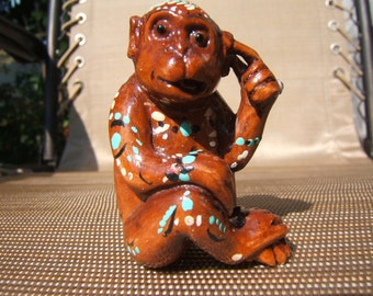 totem netsuke , silly what a face, hand carved, painted, embellished Swarovski clear crystal