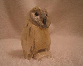 totem OWL, snow owl baby...Notsuke...copy of an antique...so not-netsuke...