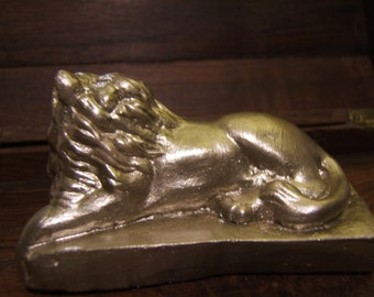 Lion, limited edition 14 kt gold painted sculpture