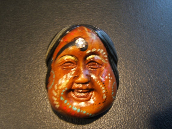 totem netsuke hand carved wooden, painted, embellished.....LUCKY GIRL bead...