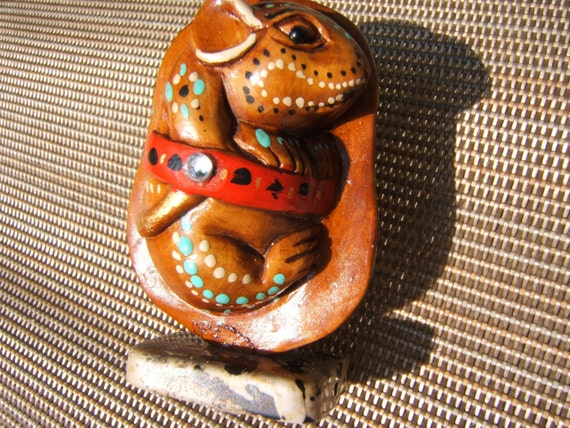 BUDDA/ MOUSE, netsuke, hand carved wooden, painted, embellished.....2 for the price of one...