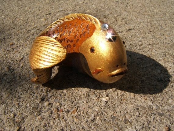 Gold FISH , netsuke,  wooden, hand carved, hand painted, hand embellished, magic lucky..... TREASURY item