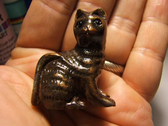 CAT, netsuke, hand carved, hand painted, dark weathered copper ...