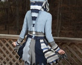 Pixie Fairy coat from upcycled sweaters in blues, with hood