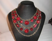 Vintage Scrumptious Huge Raspberry & Goldtone Multi-Strand Necklace