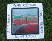 Commissioned Family Reunion Plate Hand Painted