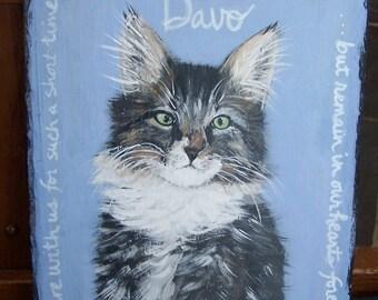 pet portrait on slate, dog cat painting, pet memorial, handpainted,custom Slate, customizable