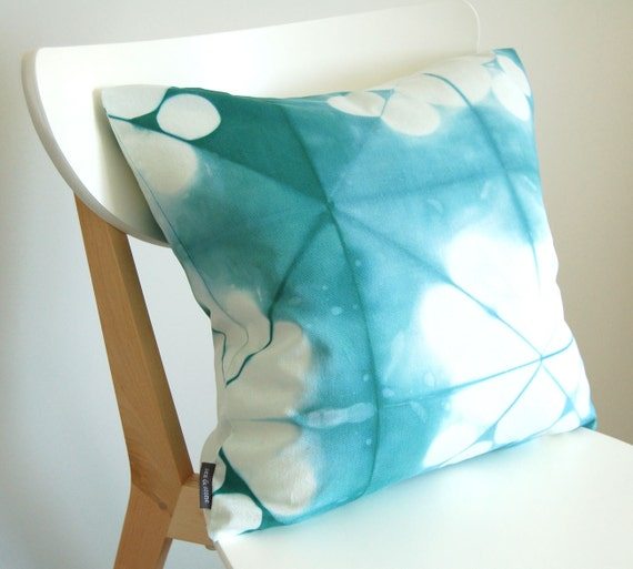 Tie Dye Shibori Pillow Cover 18x18 inches - Sea Glass