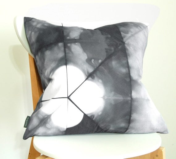 Tie Dye Shibori Pillow Cover 20x20 inches - Slate
