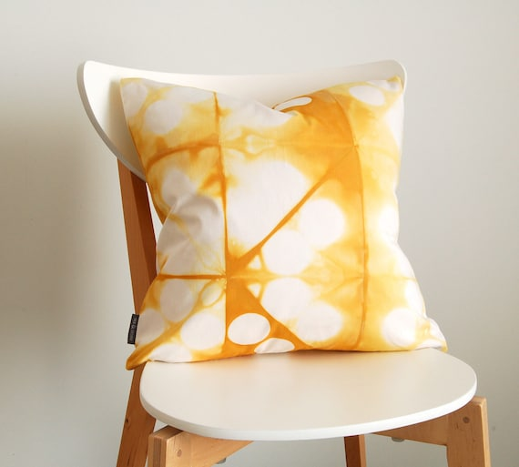 Tie Dye Shibori Yellow Pillow Cover 18x18 inches - Goldenrod