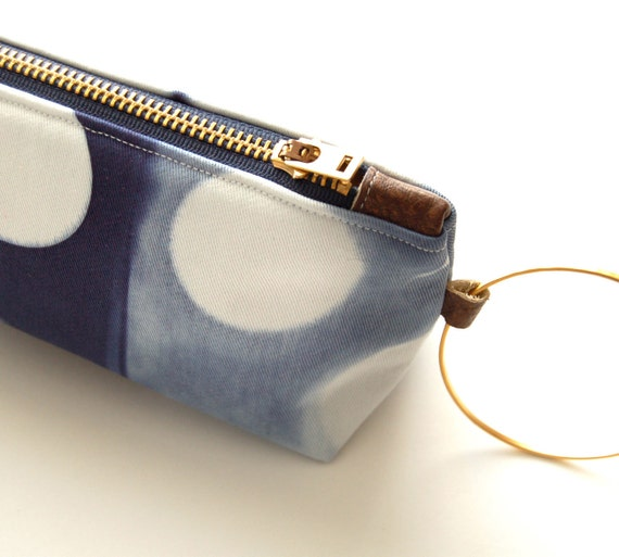 Tie Dye Navy Clutch - Contemporary Shibori Wristlet Clutch - Marine