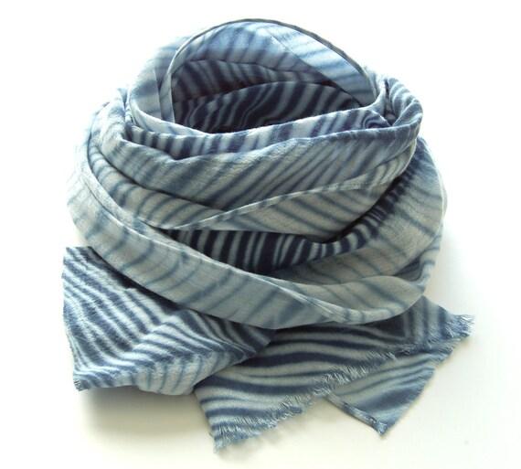 Tie Dye Navy Blue Shibori Scarf - Hand Dyed Cotton - 17 x 72 - Marine