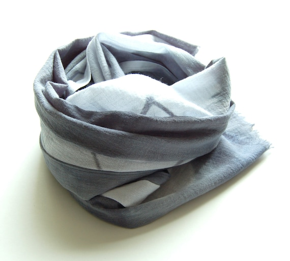 SALE - Grey Shibori Cotton Scarf - 17 x 72 - Slate