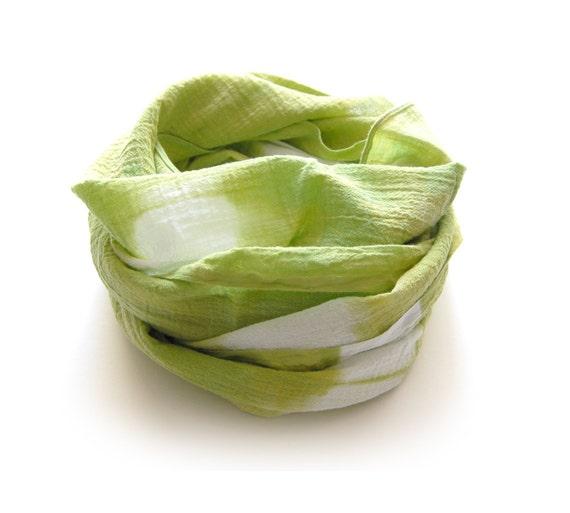 Tie Dye Lime Green Shibori Scarf - Hand Dyed Cotton - 17 x 72 - Peapod