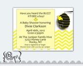 Buzzy Bee chevron baby shower invitation