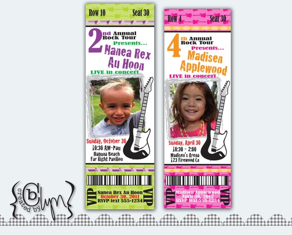 Concert Ticket birthday party invitation