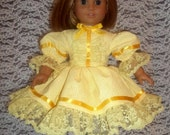 American Girl Doll Clothes: Yellow Spring Dress With Easter Apron