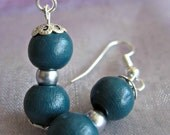 Blue / Green Wooden Beaded Earrings, Dangle (Set - Matching Ring Available) (Silver Plating)