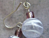 Lilac & Purple Beaded Dangle Silver Plated Earrings