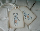 Bunny Favor Tags - Baby Boy Gift Tags - Blue and Brown - Baby Shower Tags