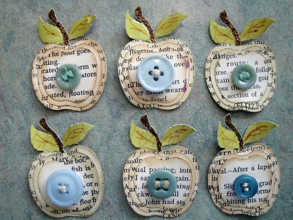 Dictionary Page Layered Apple and Button Die Cut Embellishments for Scrapbooking and Card Making