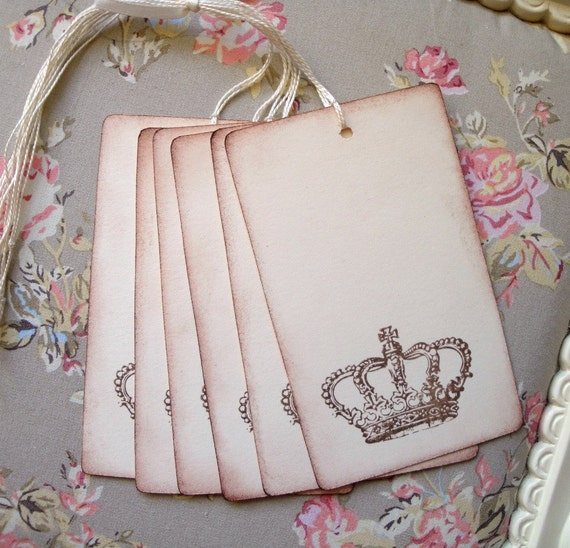 Crown Wedding Wish Tree Tags - Favor Tags - Vintage Inspired Crown - Gift/Label Tags