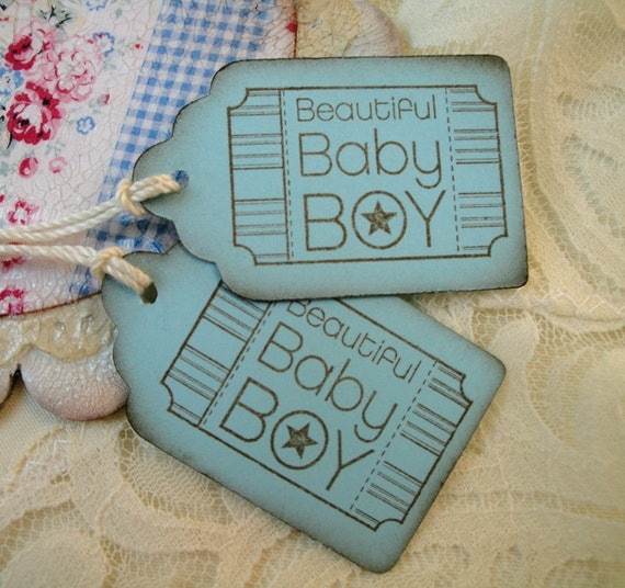 Baby Boy Gift Tags : Items similar to baby shower favor tags boy gift