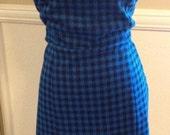Strapless punk rock Blue Black Checkered Dress Rockabilly Wiggle summer Dress Plus Size XL psychobilly scene summer dress