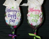 Personalized Mommy's Sippy Cup Wine Glass - Custom Colors - Can be personalized