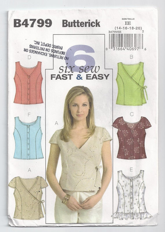 Close Fitting Top With Neckline Variations Size 14 To 20 Unused Butterick Sewing Pattern