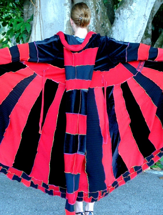 Sale Upcycled Sweater Coat or Dress Whimsical Red and Black XLong size M-L READY TO SHIP