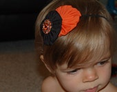Halloween Double Flower Skinny Headband Adorned with Orange Rhinestone