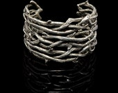 Gothic Jewelry - Large Thorn Cuff Bracelet -Thorn Branches – Vampire Jewelry – Cuff Bracelet – Entwined Thorns –Silver Thorn Bracelet