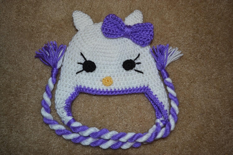 Crochet Kitty Hat : Crochet Hello kitty hat by slvb26 on Etsy