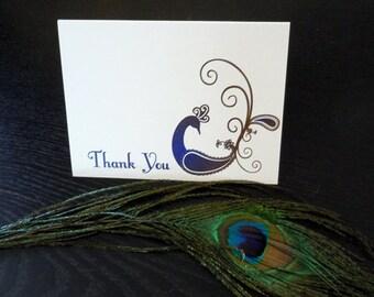 Peacock Thank You cards - Dozen (12) cards printed on metallic paper