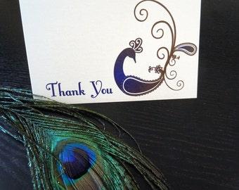 Peacock Thank You card - Single card printed on metallic paper