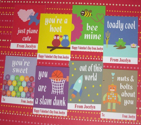 Printable Valentines Cards - Personalized Valentines Cards, you choose designs