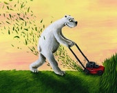 Childrens art print 'MO' MOWING' Bear mowing print reproduced from original painting.