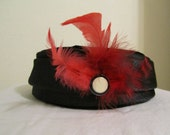 Janyth Roy vintage hat (button & red feathers added)