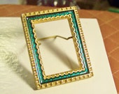 Tiny Brass Frame in gold and green, 2 x 1-1/2 inch size...