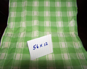 Fabric, Lime Green Checkerd Cotton Fabric, 56 x 12, green plaid cotton fabric