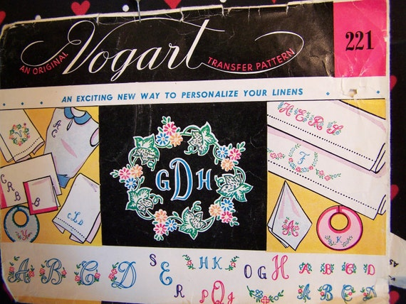Pattern, Collection of Monogram Styles in a pattern, number 221 by Vogart Co., NY, NY