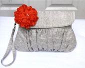 Wristlet Clutch Purse Grey Cotton linen with orange flower and detachable strap